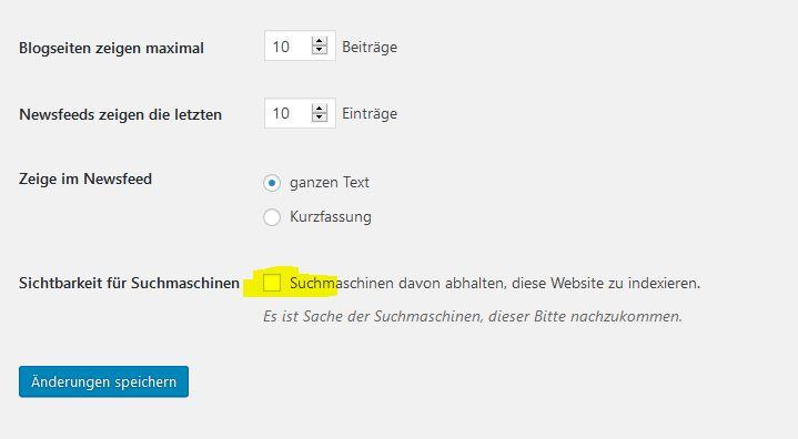 Suchmaschinen können deine Homepage nicht indexieren