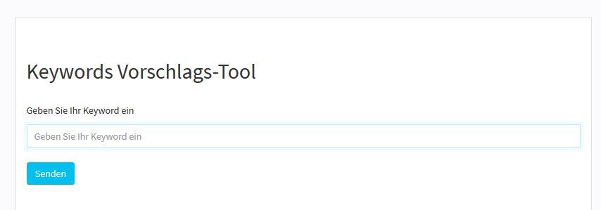 Keywords Vorschlags-Tool