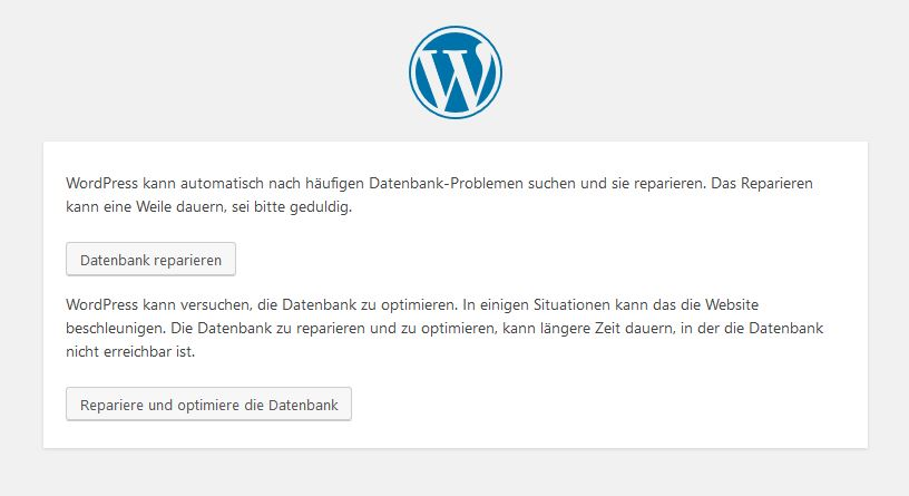 Wordpress reparieren